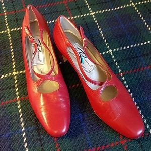 """Red 2"""" leather heels"""